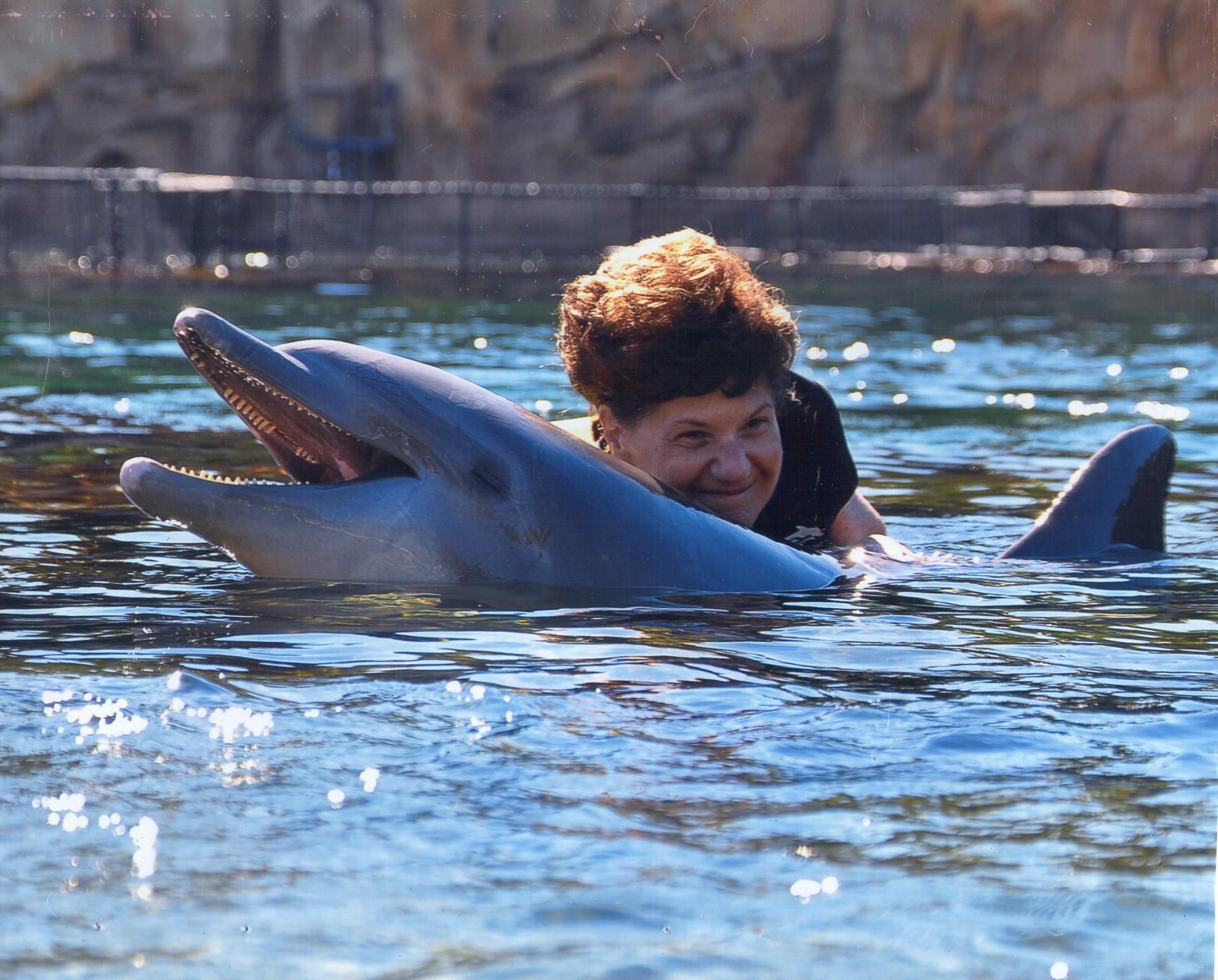 Carol Crimi swimming with dolphin